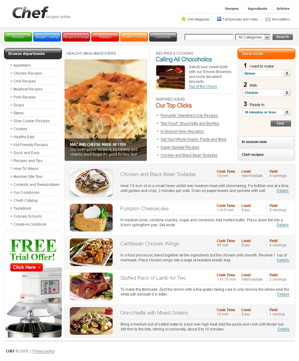 Chef PSD Template