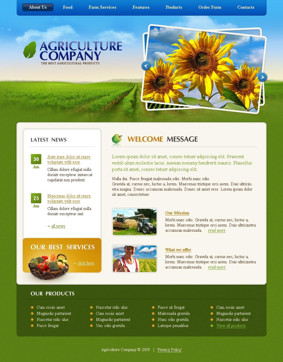 Modello siti web per un sito di agricoltura for Siti web di costruzione domestica