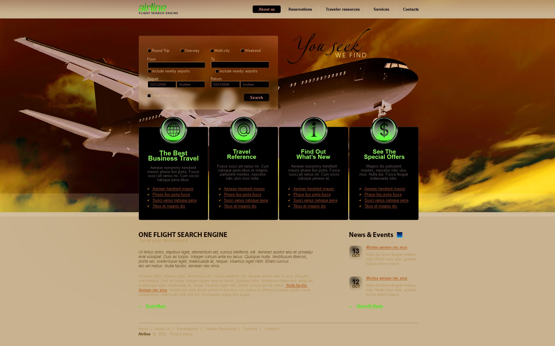 Airline Tickets Website Template 24093 by WT PSD Templates