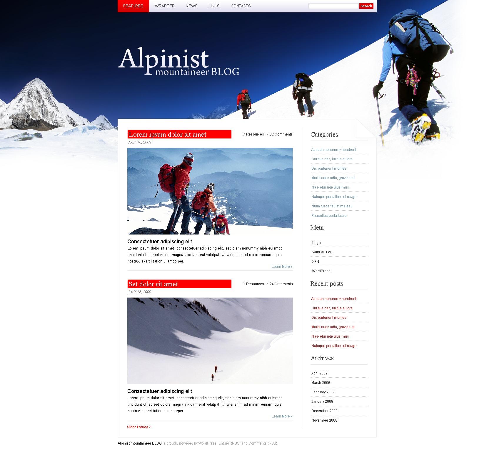 WordPress шаблон №24068 на тему альпинизм - скриншот