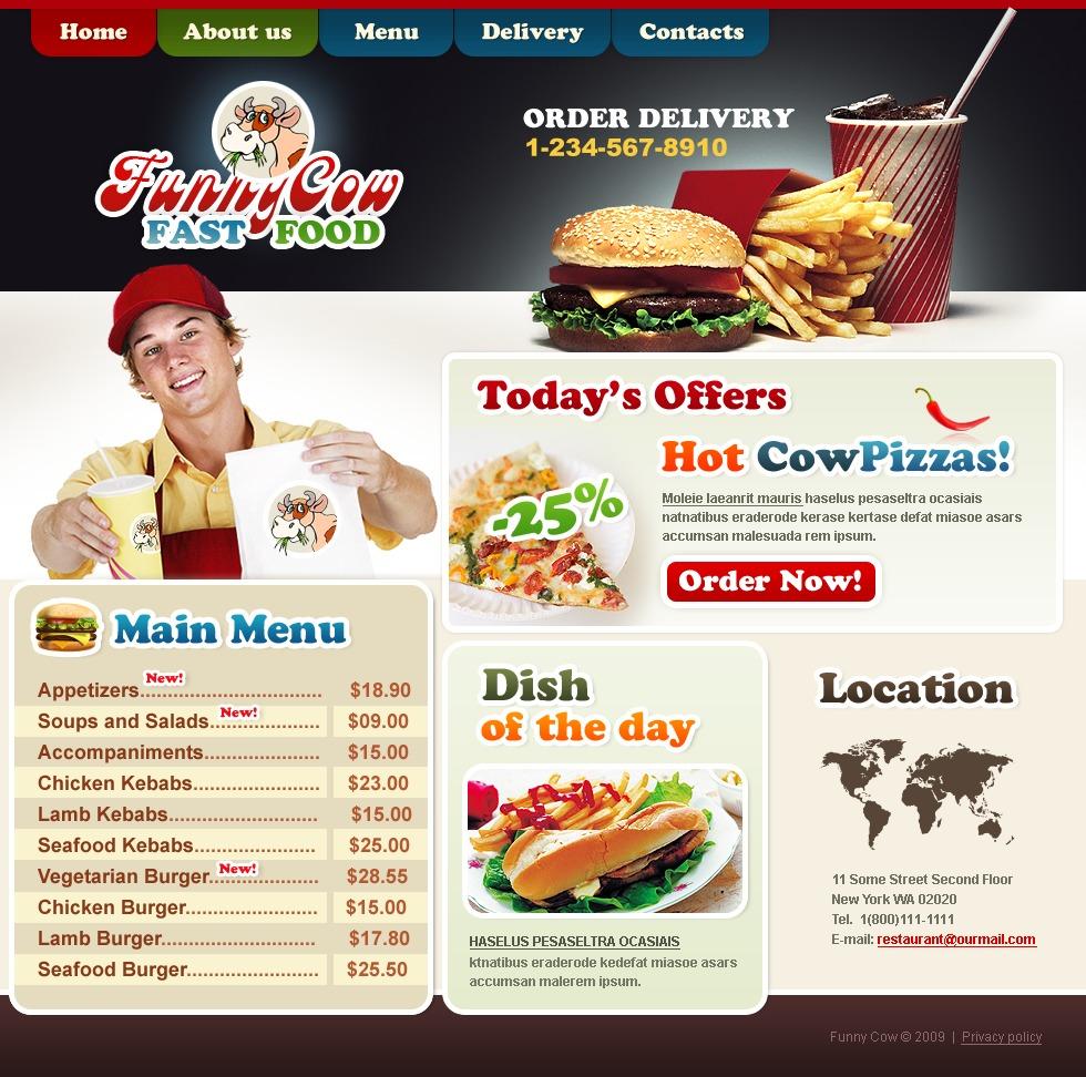fast food restaurant website template 24298. Black Bedroom Furniture Sets. Home Design Ideas