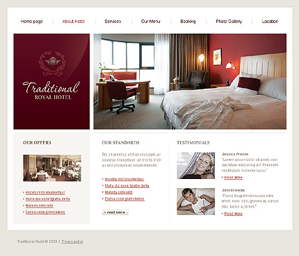 Template 24304 ( About hotel Page ) ADOBE Photoshop Screenshot