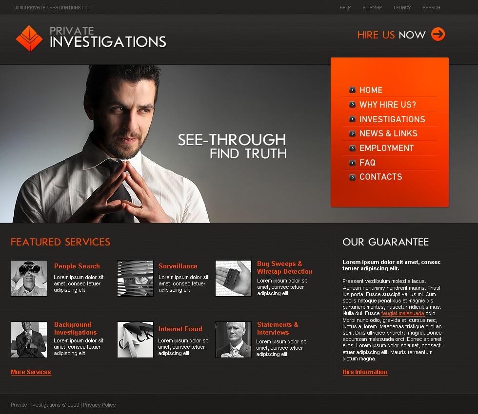 private investigator website template 24412. Black Bedroom Furniture Sets. Home Design Ideas