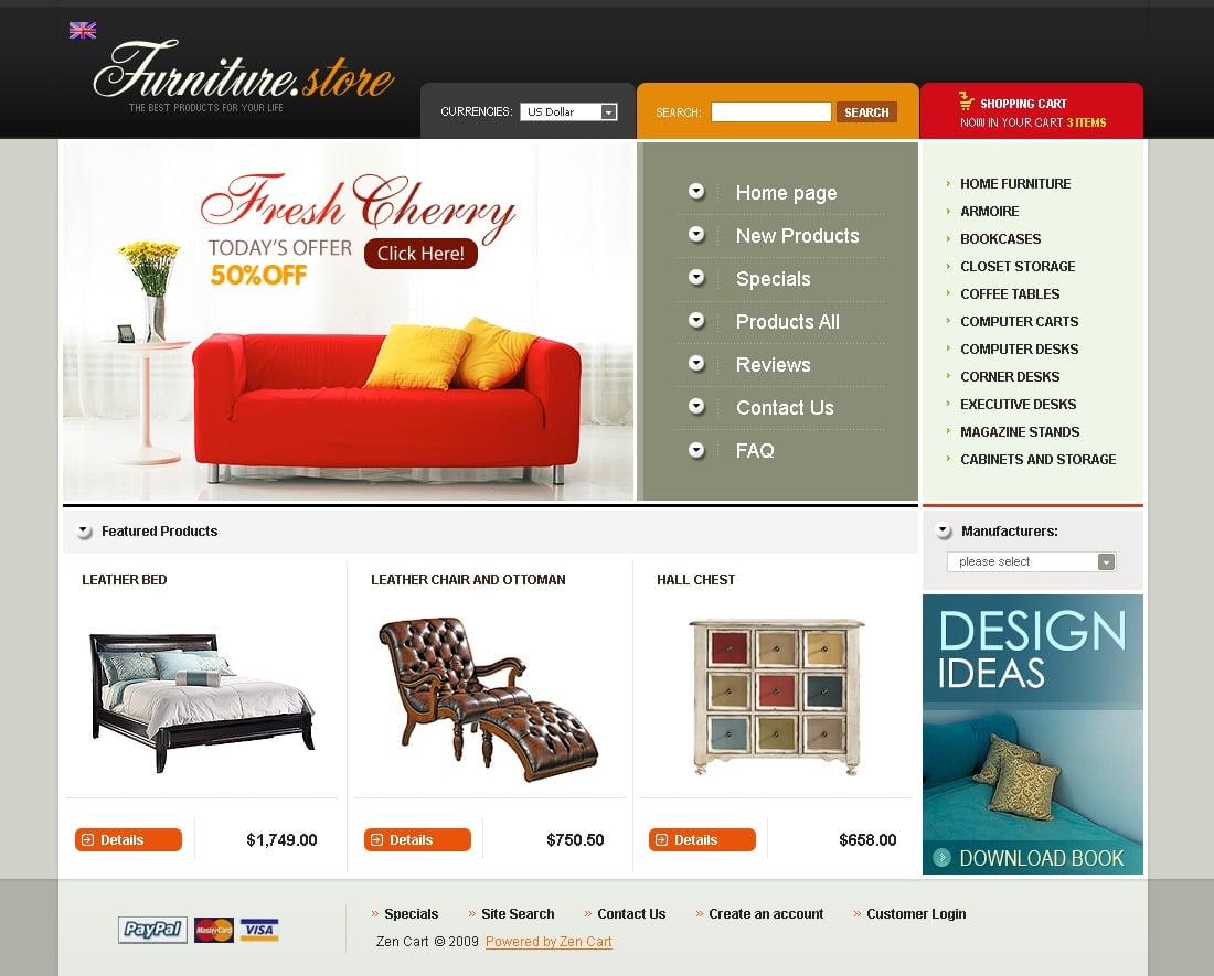 th me zen cart 24410 pour site de meubles. Black Bedroom Furniture Sets. Home Design Ideas