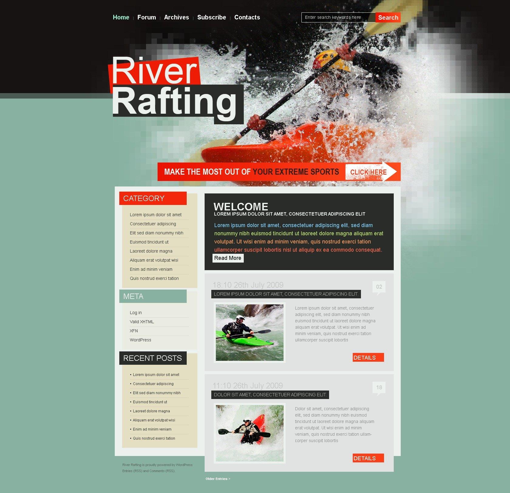 Tema De WordPress #25038 para Sitio de Descenso de ríos - captura de pantalla