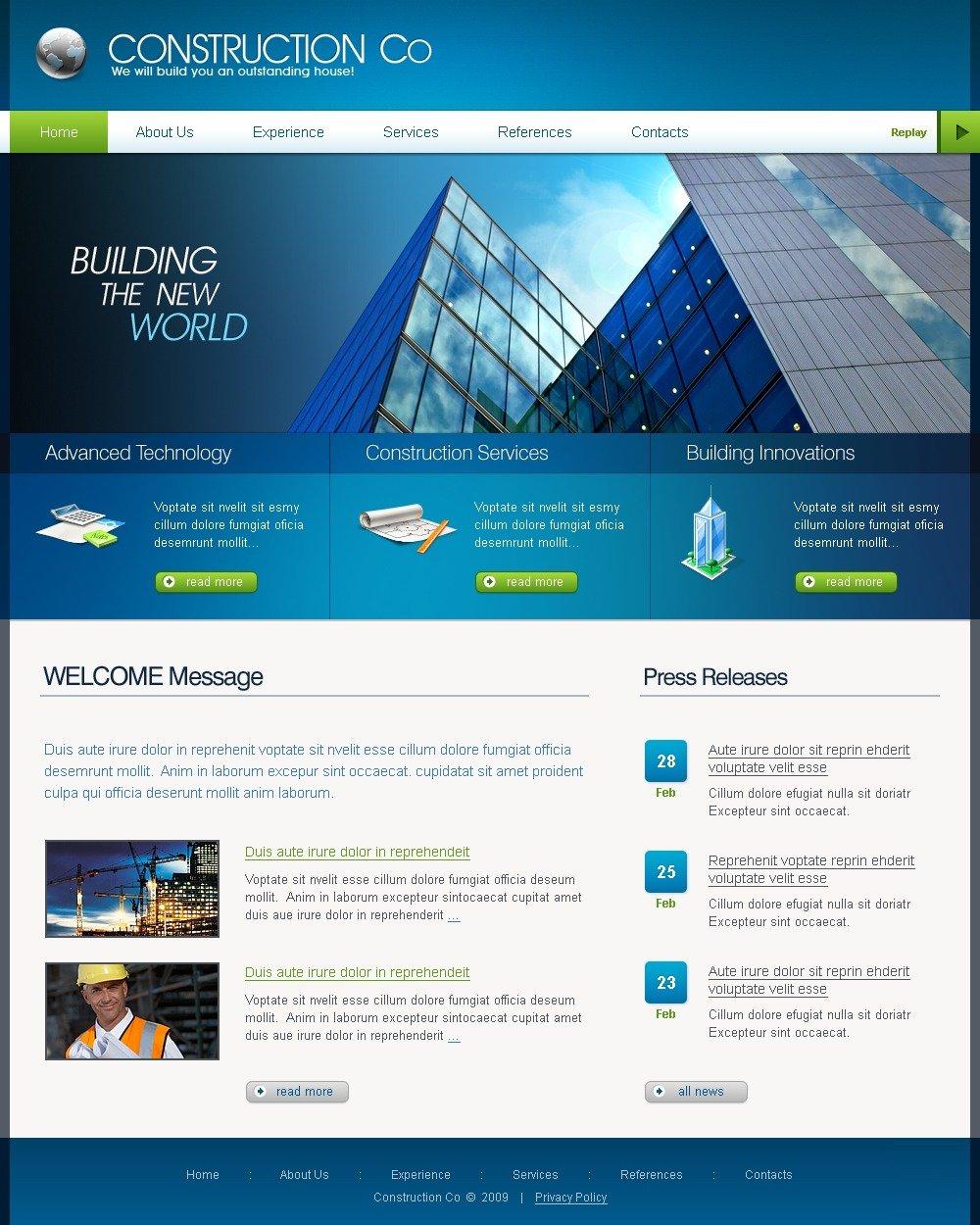 construction company website template 25195. Black Bedroom Furniture Sets. Home Design Ideas