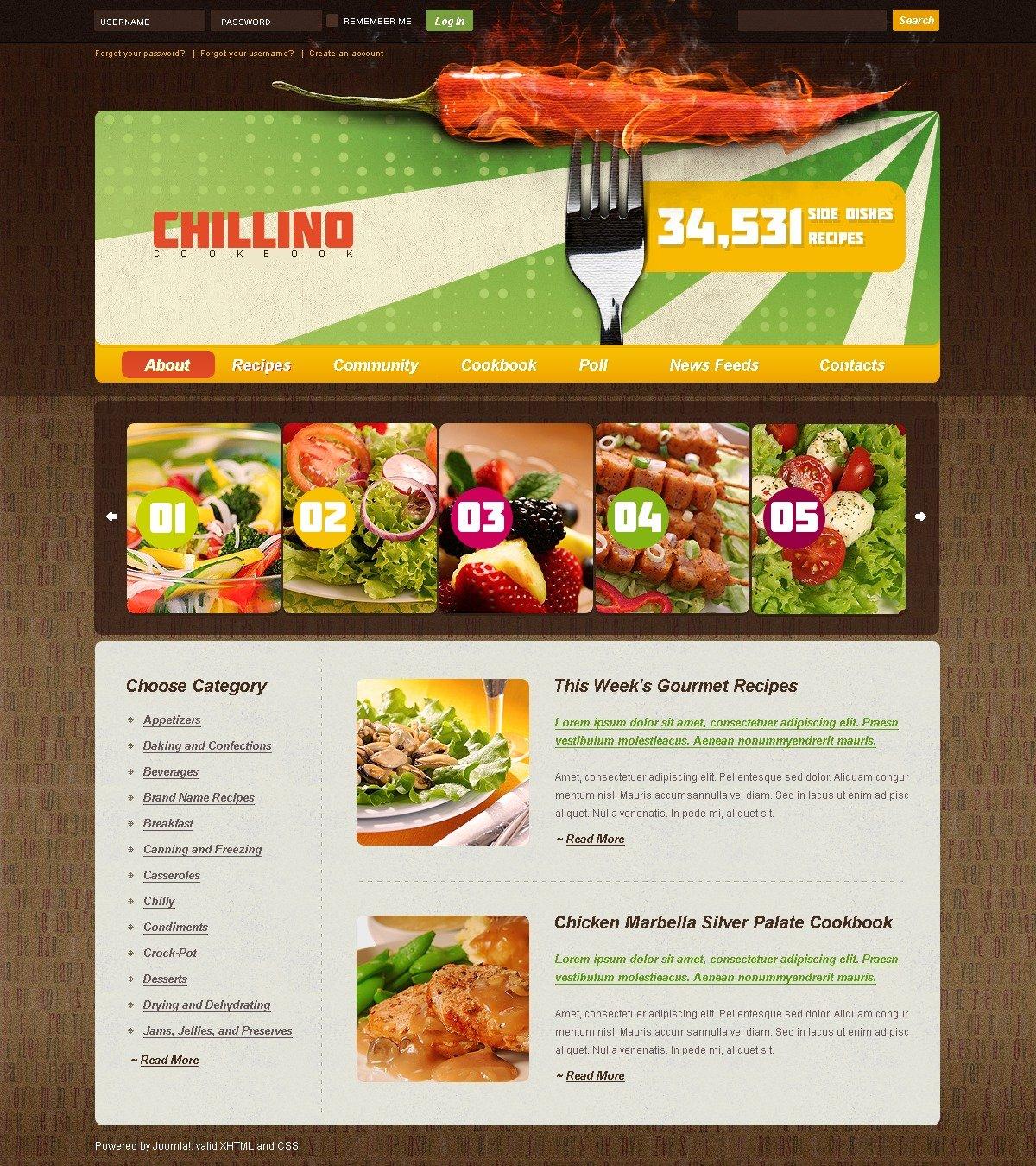 modello joomla 25103 per un sito di cucina