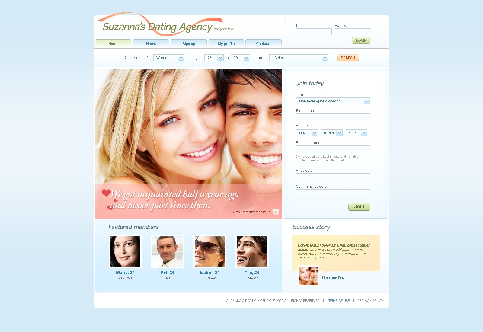 email template for dating website