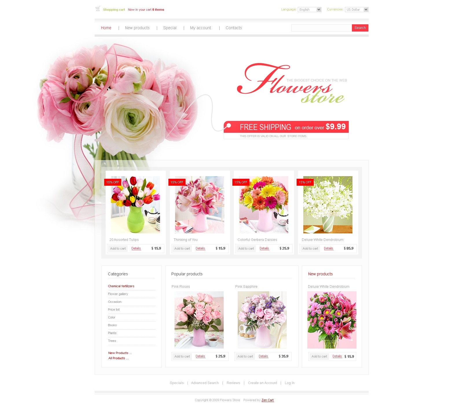 Flower Shop Zencart Template 25217