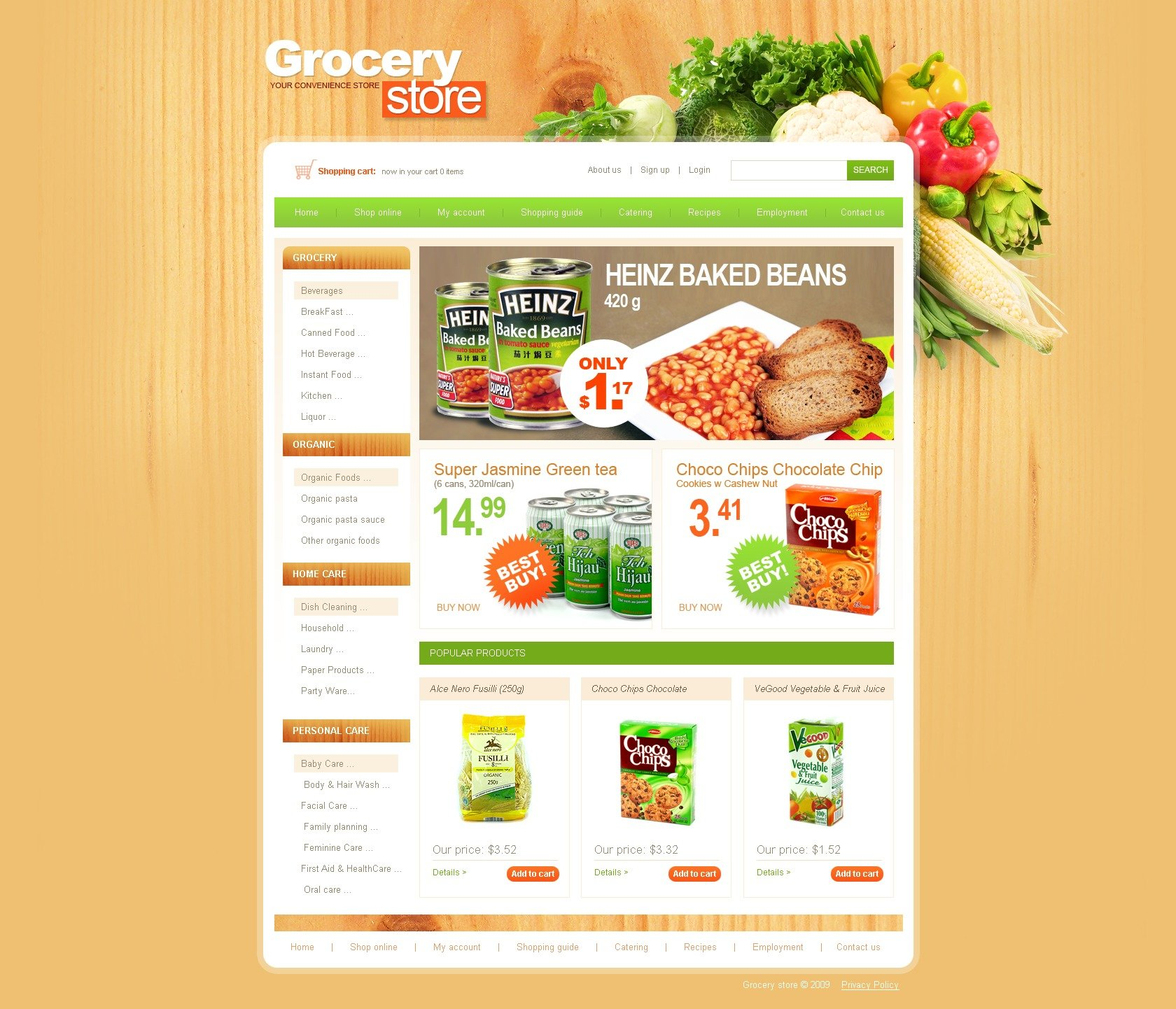 Home Store Website: Grocery Store Website Template #25384 By WT