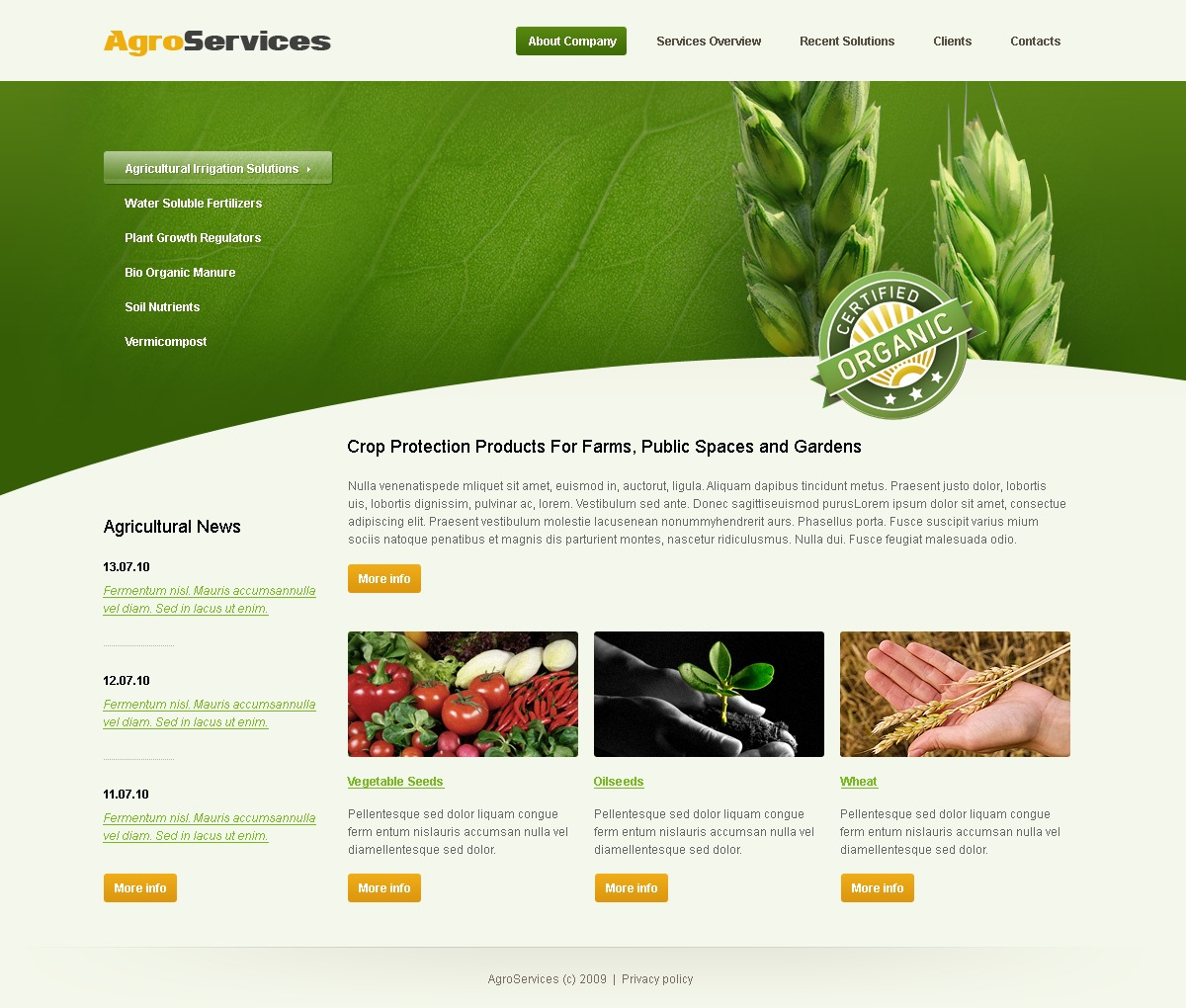 Agriculture Website Template #25685