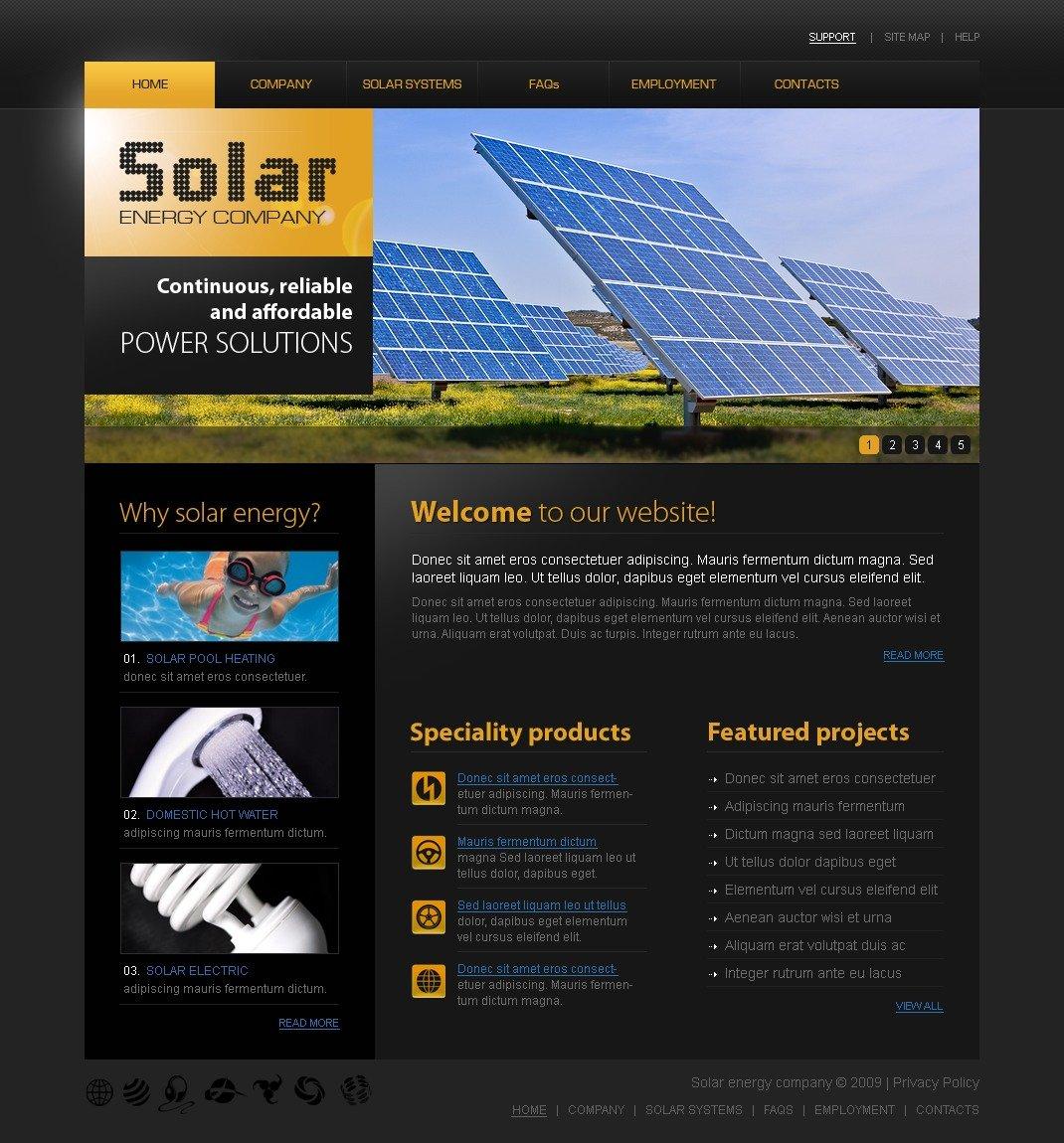 solar energy website template 25713. Black Bedroom Furniture Sets. Home Design Ideas