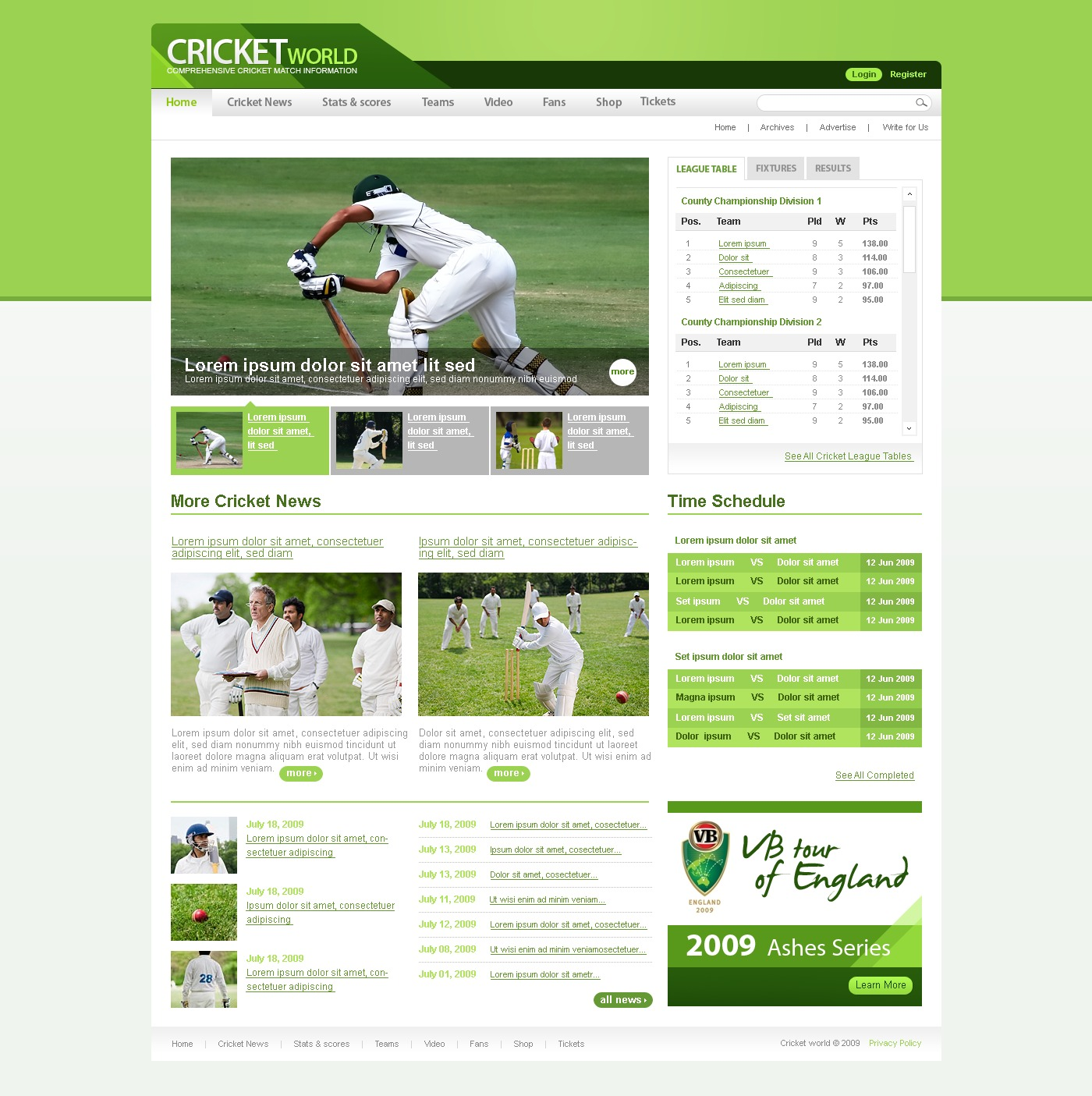 Cricket Website Template 25946