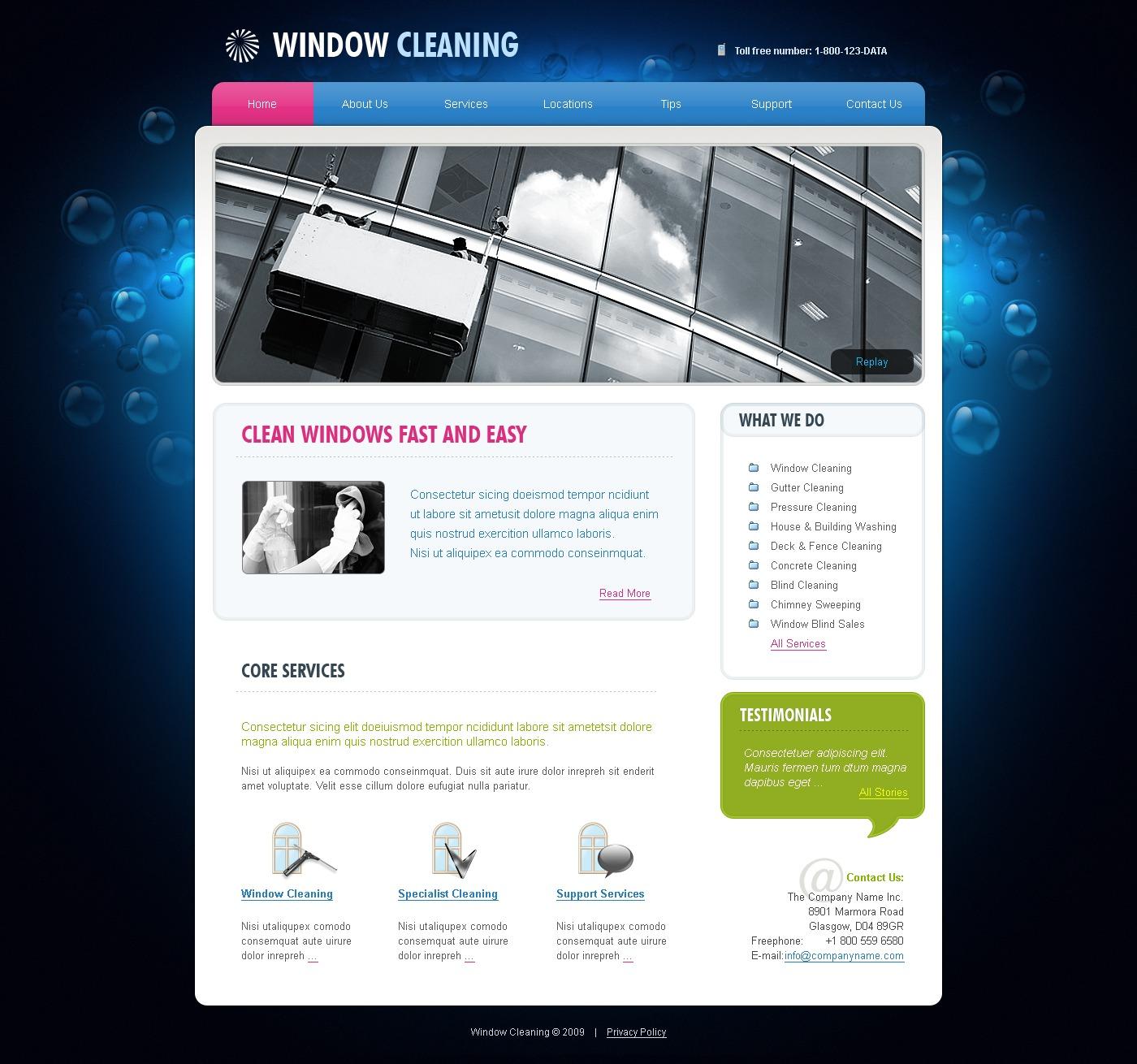 Best Window Free Website Templates: Window Cleaning Website Template #25901