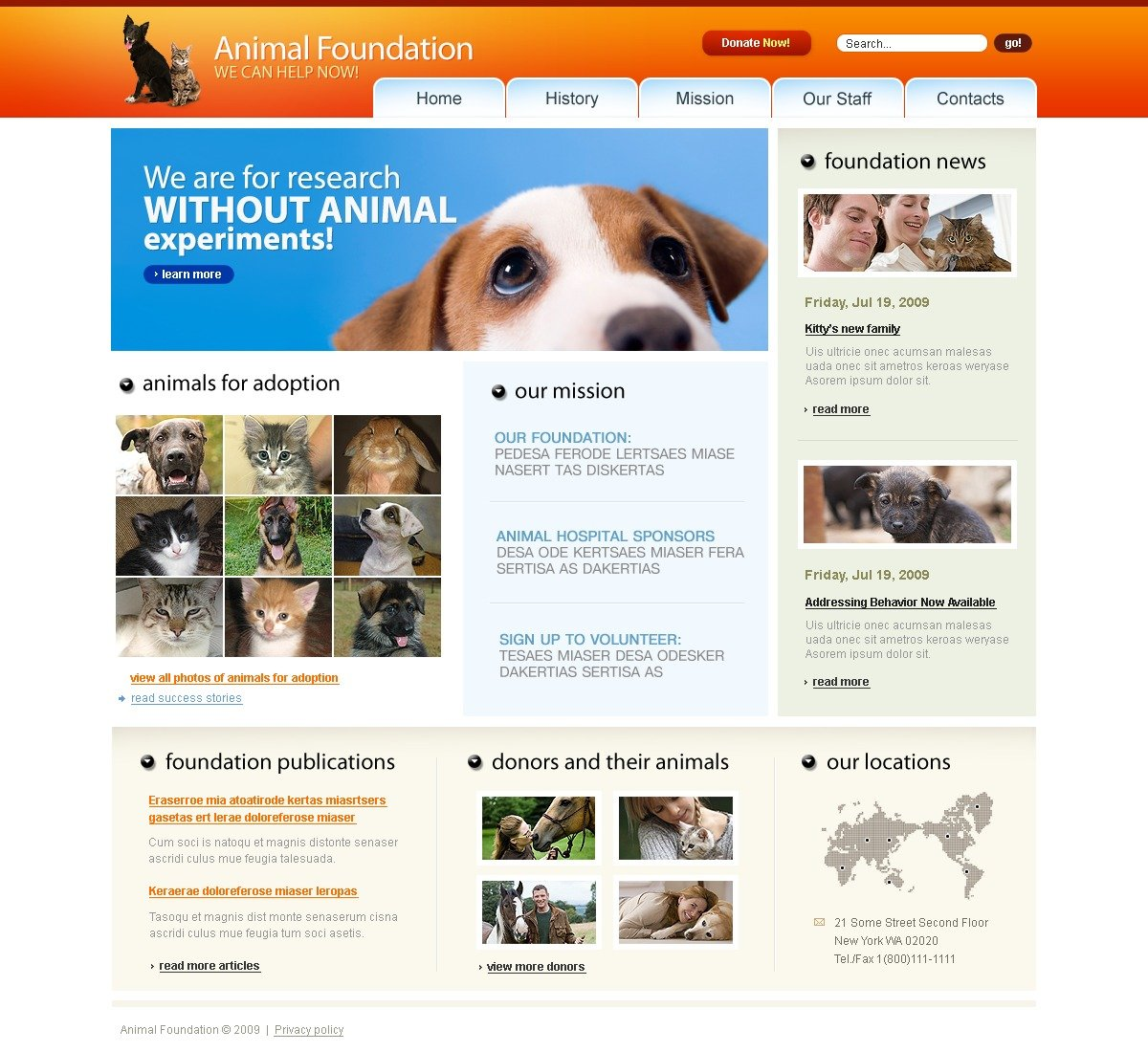 animal shelter website template 26045. Black Bedroom Furniture Sets. Home Design Ideas
