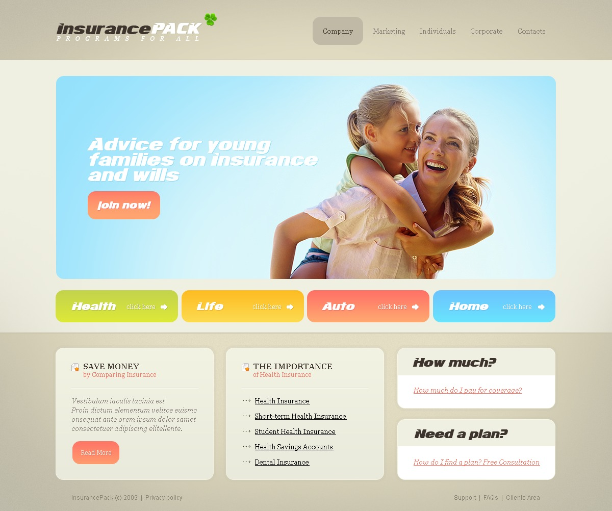insurance website template 26255