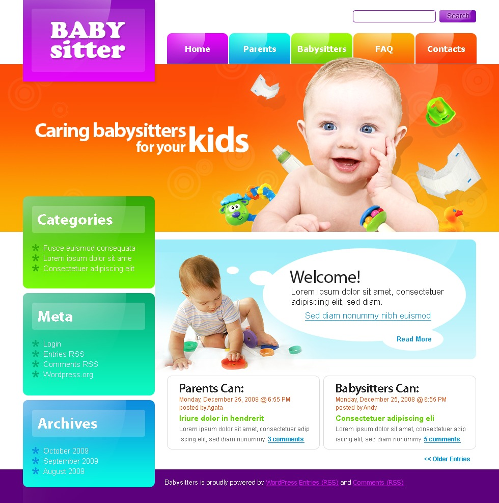 Babysitter WordPress Theme New Screenshots BIG Zoom In Live Demo