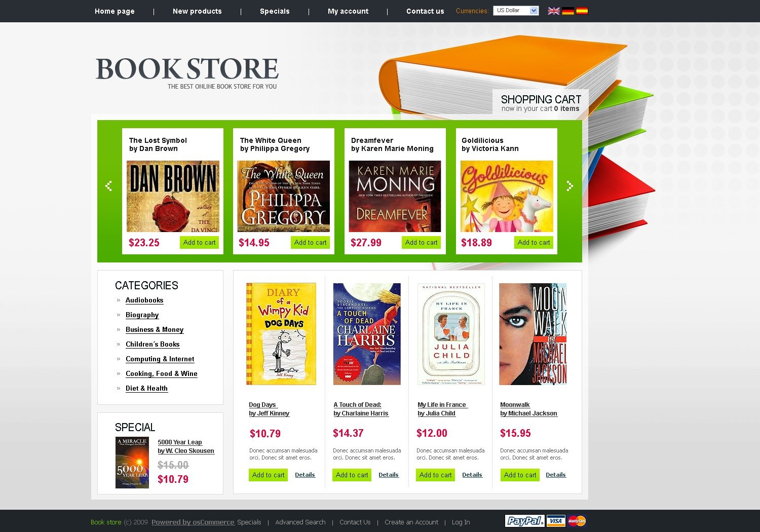 Book store oscommerce template 26317 for Online websites for shopping