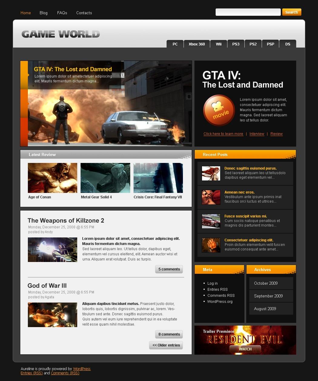 Games WordPress Theme 26300