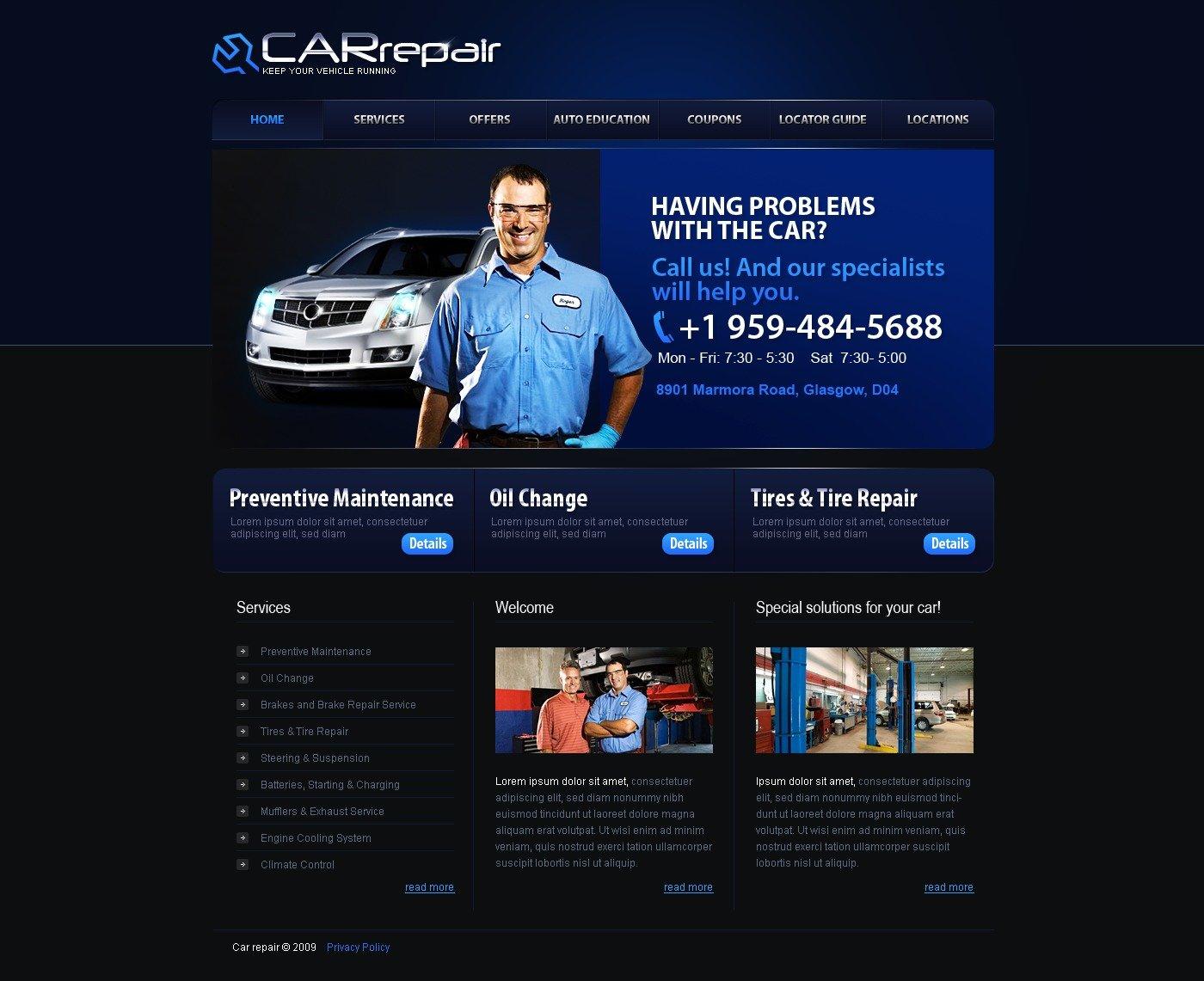 car repair website template 26449. Black Bedroom Furniture Sets. Home Design Ideas