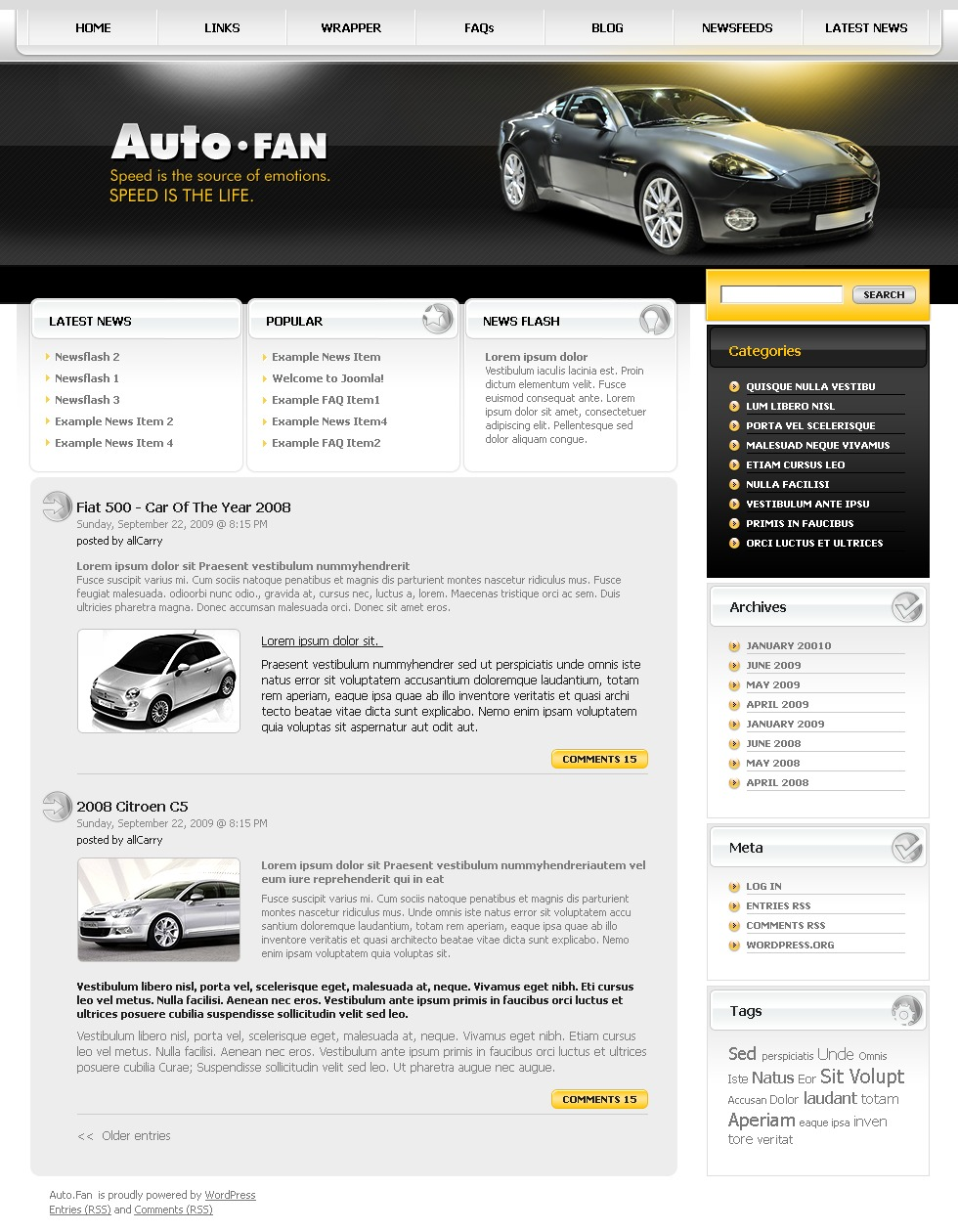 Tema WordPress para Sites de Clube de Carros №26607 - captura de tela