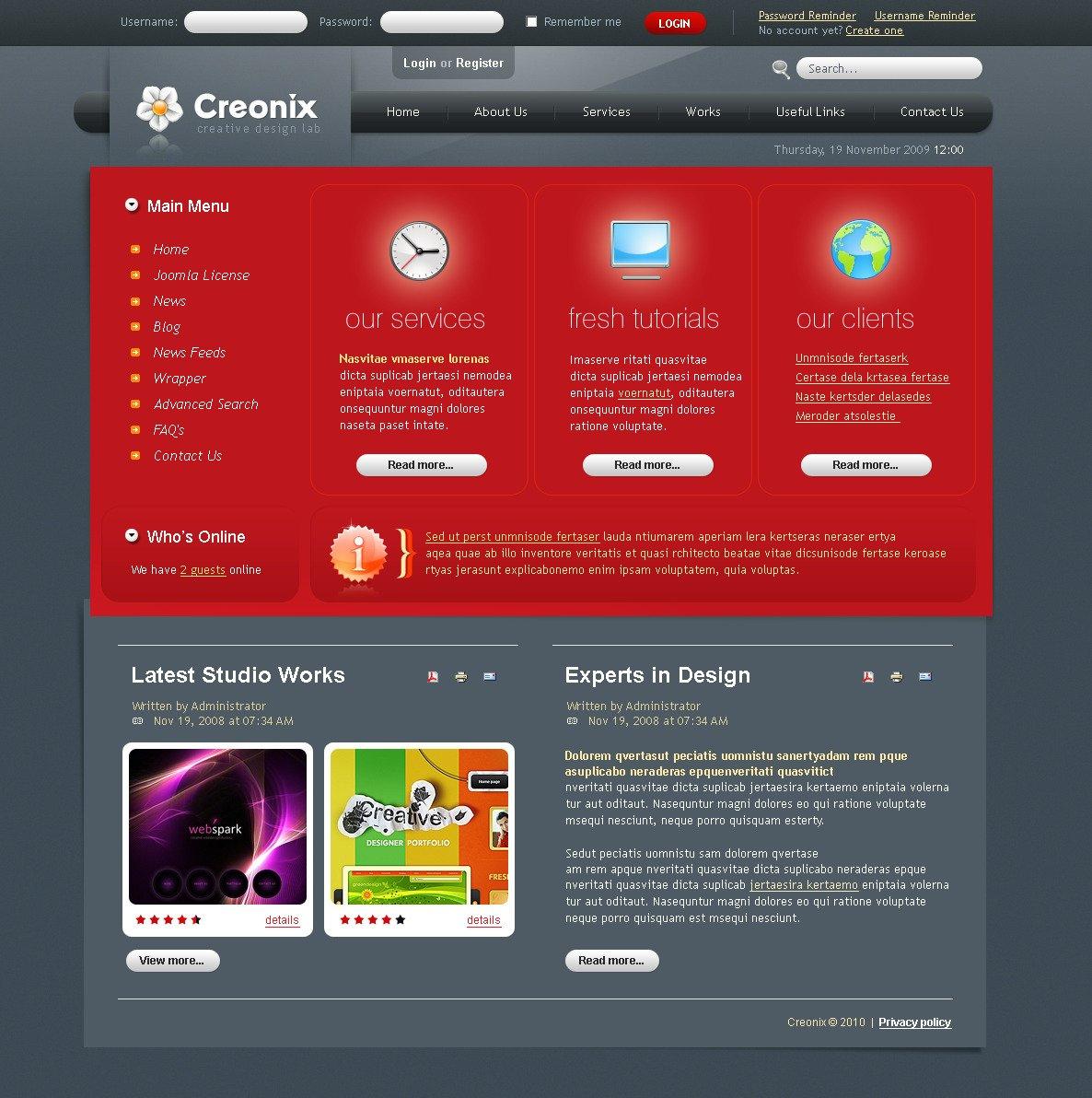 Design studiók Weboldal sablon 26990 - képernyőkép