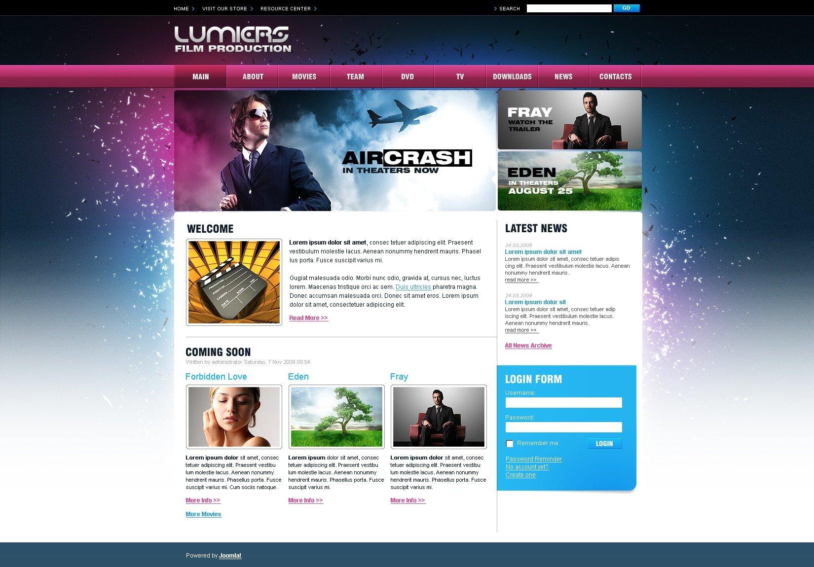 Joomla шаблон на тему кіно №26972 - скріншот