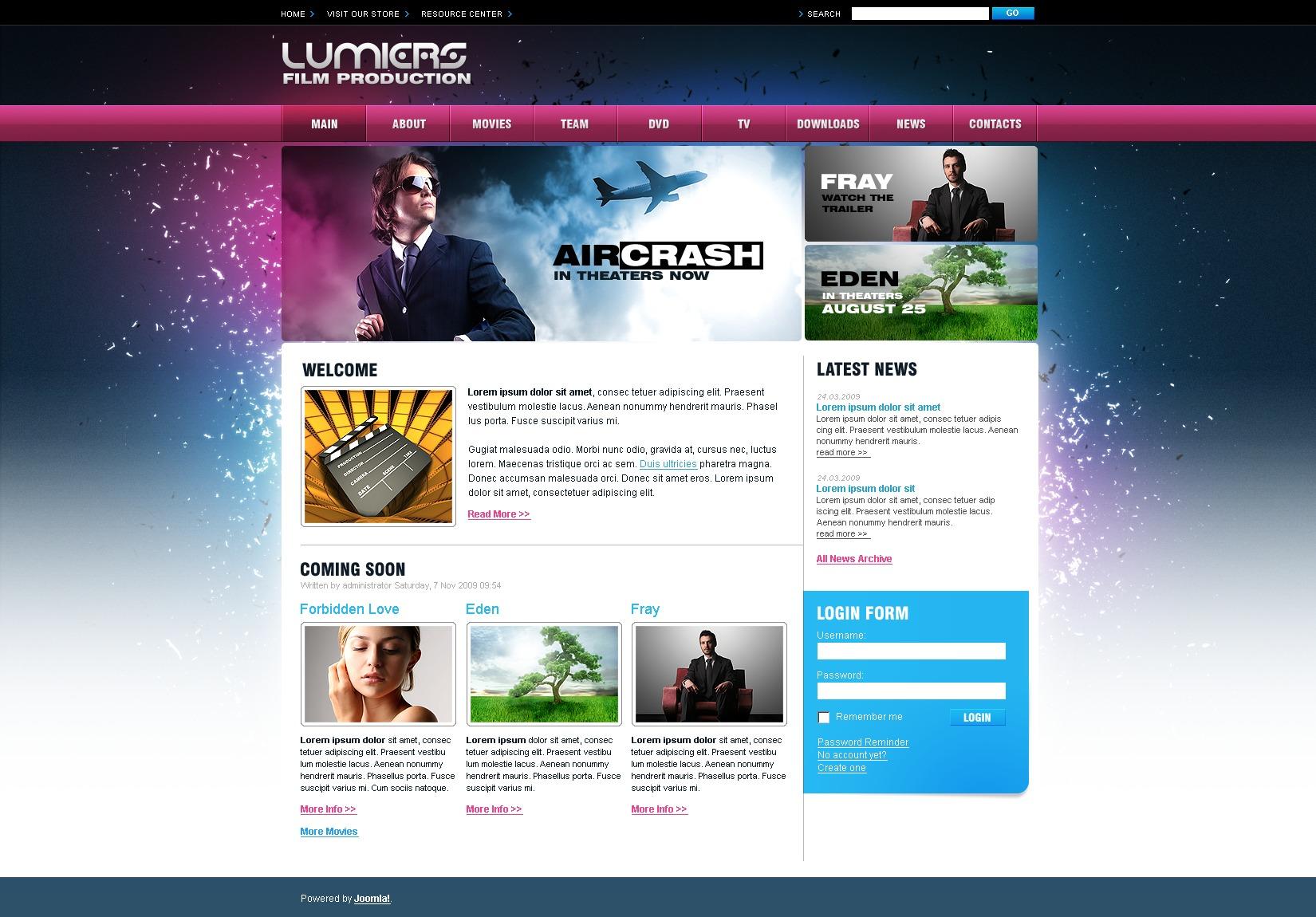 Plantilla Joomla #26972 para Sitio de Cine - captura de pantalla