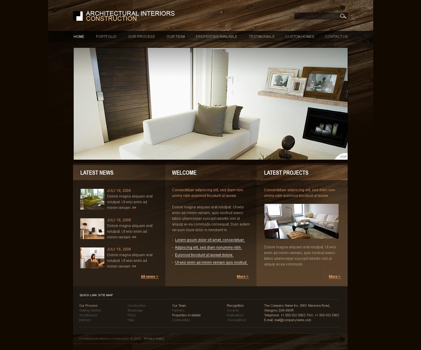 Tema siti web per un sito di design di interni for Sito web di design di mobili