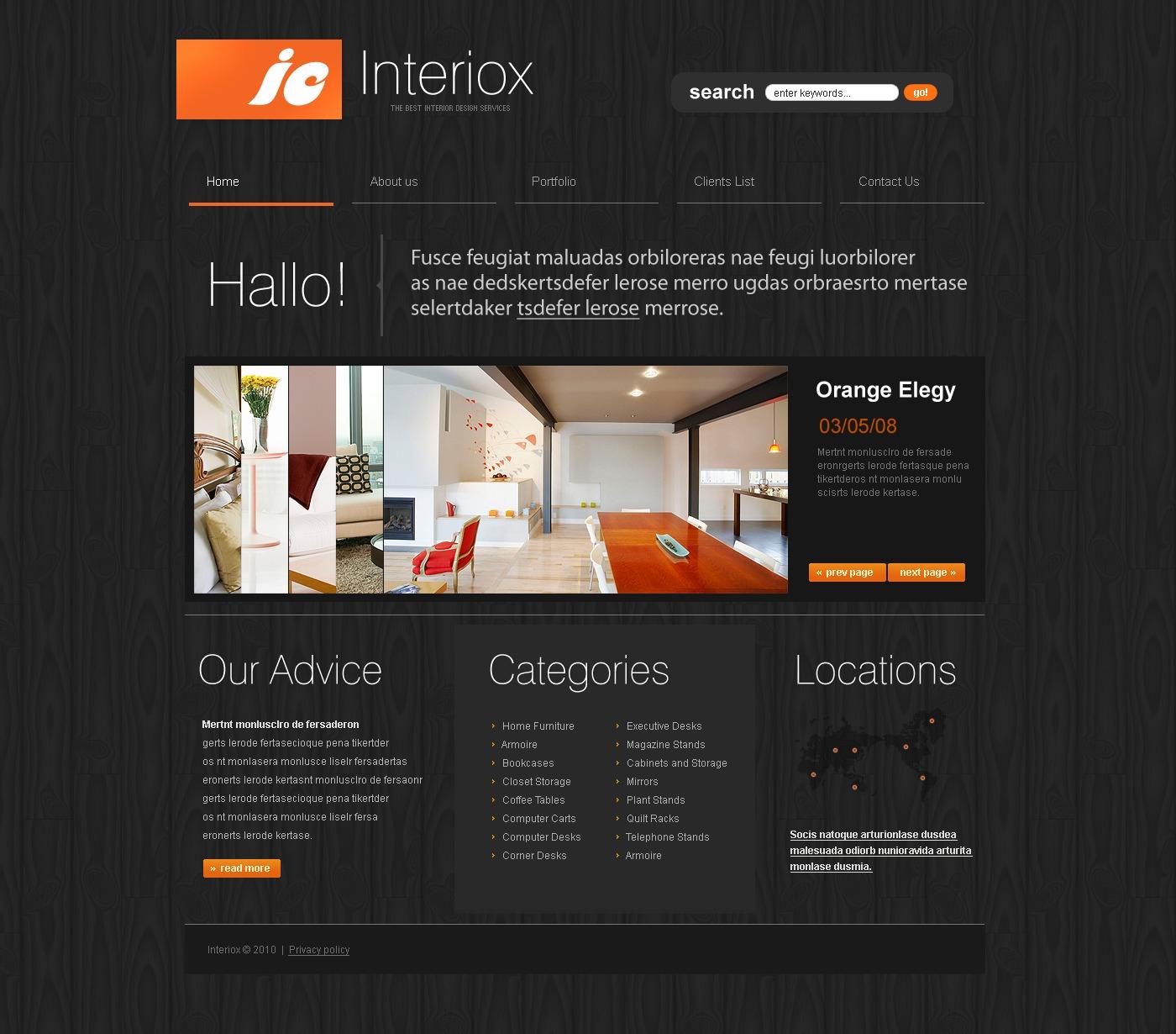 Interior design website template 27138 for Interior design sites