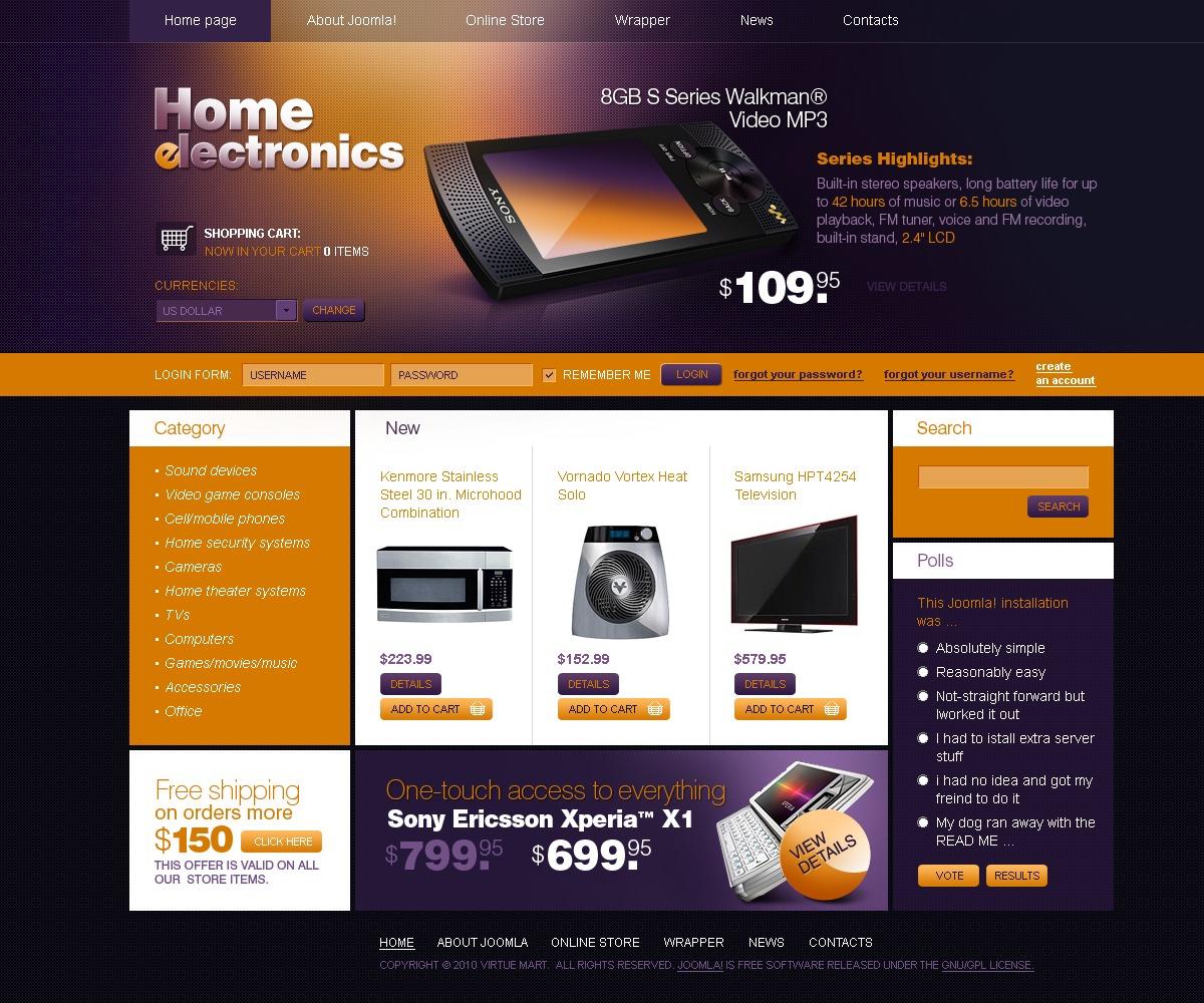 Plantilla VirtueMart #27330 para Sitio de Tienda de Electrónica - captura de pantalla