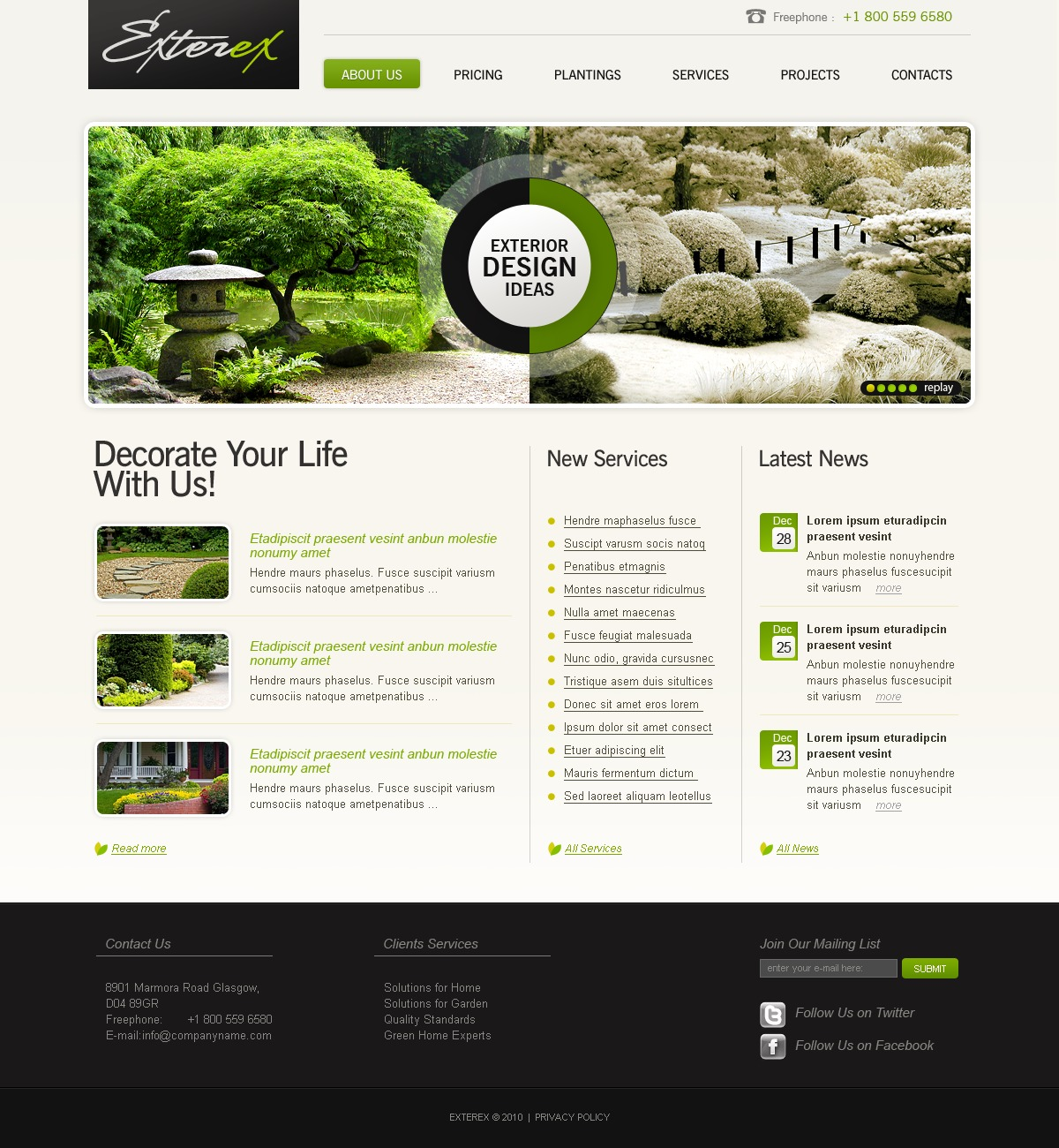 Exterior design website template 27634 for Exterior design website templates