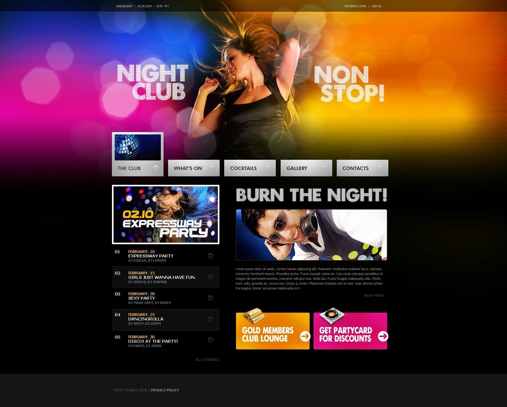 Night Club Website Template #27636