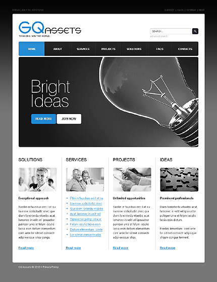 ADOBE Photoshop Template 27818 Home Page Screenshot
