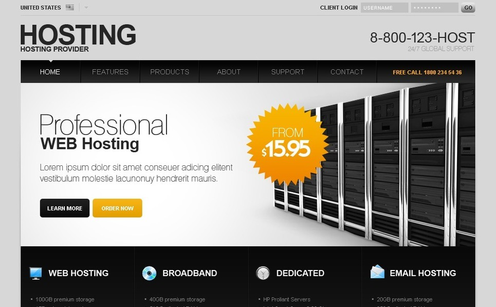 Szablon PSD #27831 na temat: hosting New Screenshots BIG