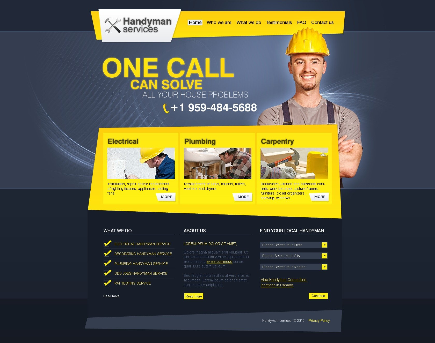 Home Repairs PSD Template