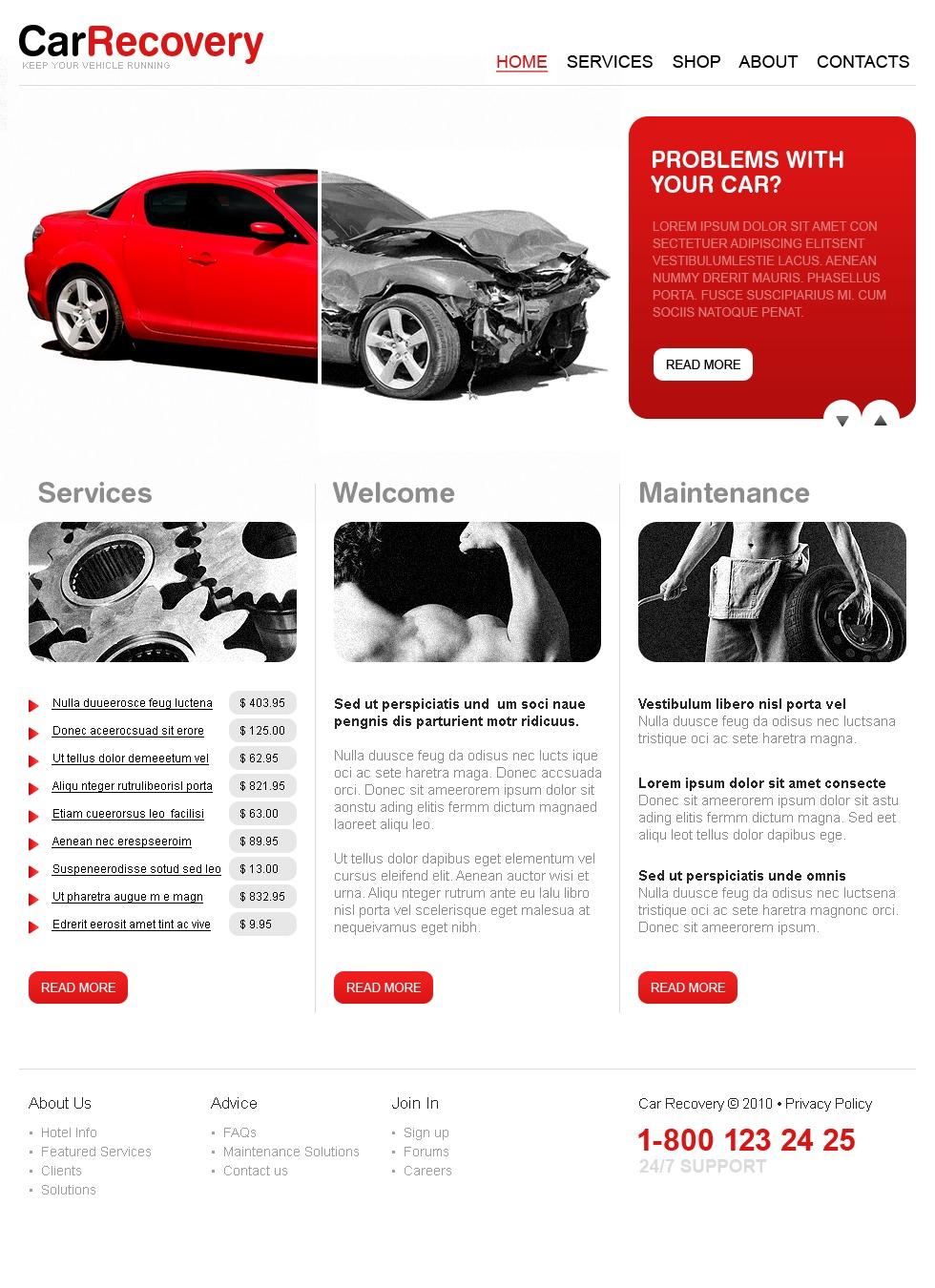 car repair website template 27933. Black Bedroom Furniture Sets. Home Design Ideas