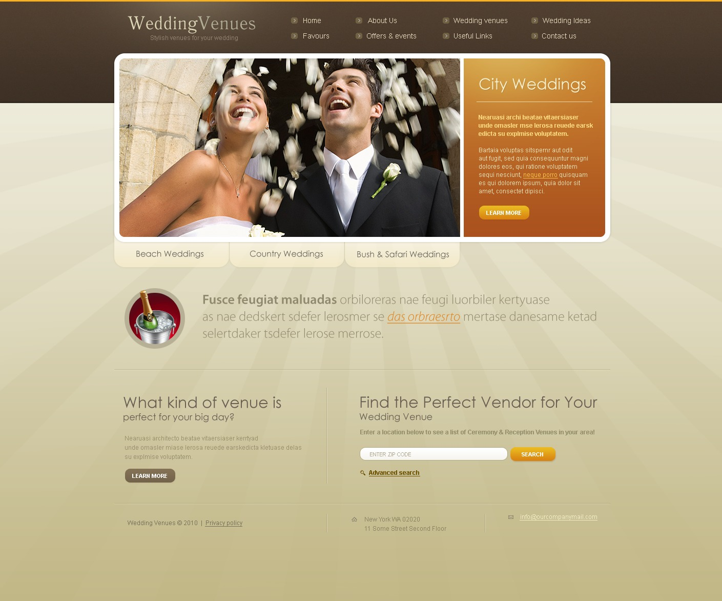 Wedding Venues Website Template - Us zip code website
