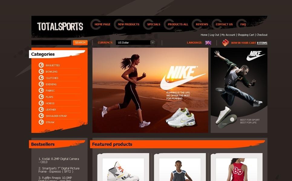 ZenCart Vorlage für  Sportgeschäft New Screenshots BIG