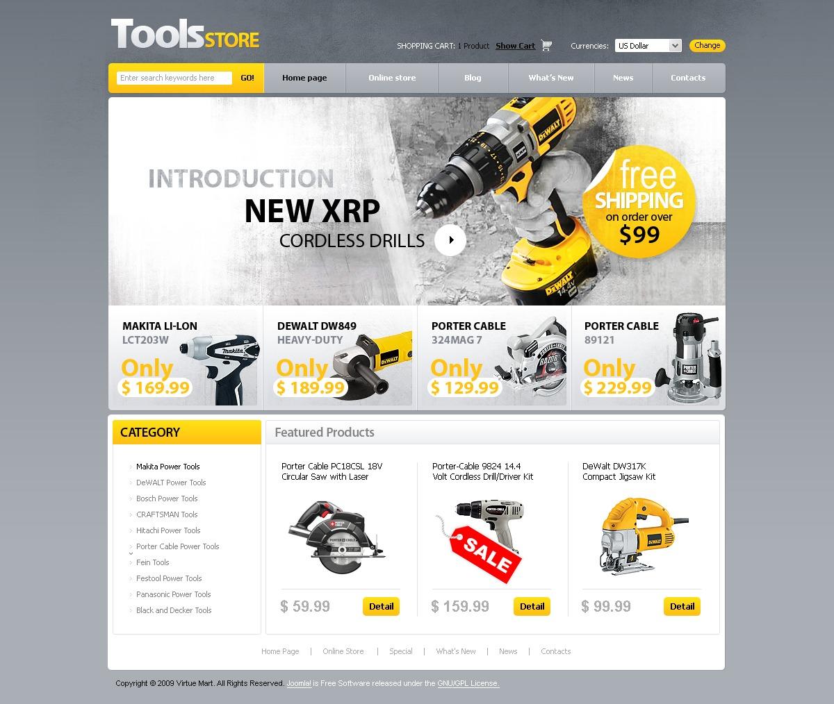 Tools & Equipment VirtueMart Template - screenshot