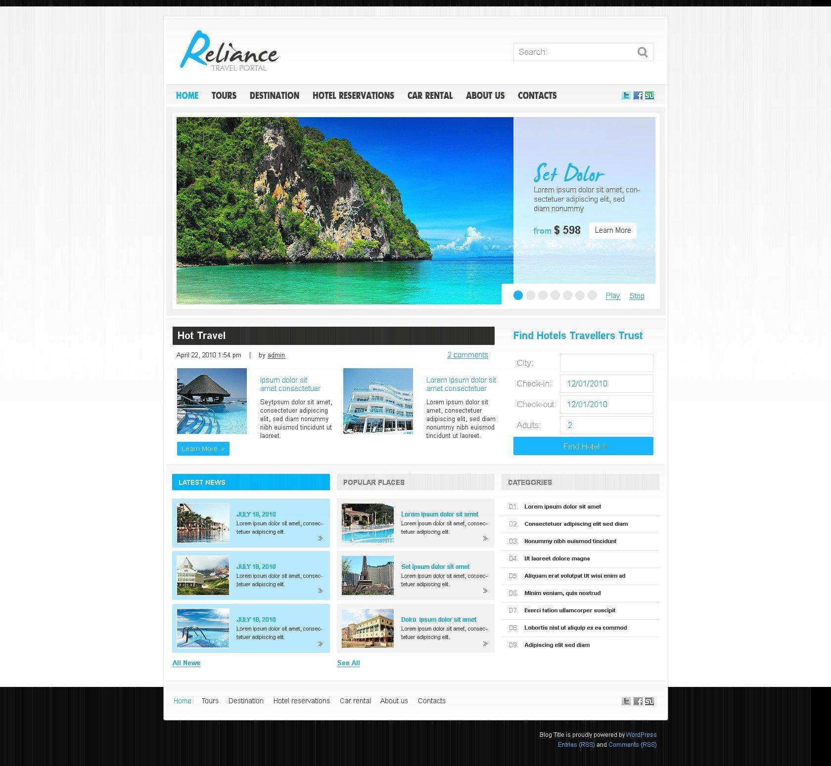 Tema De WordPress #28831 para Sitio de Guías de viajes - captura de pantalla