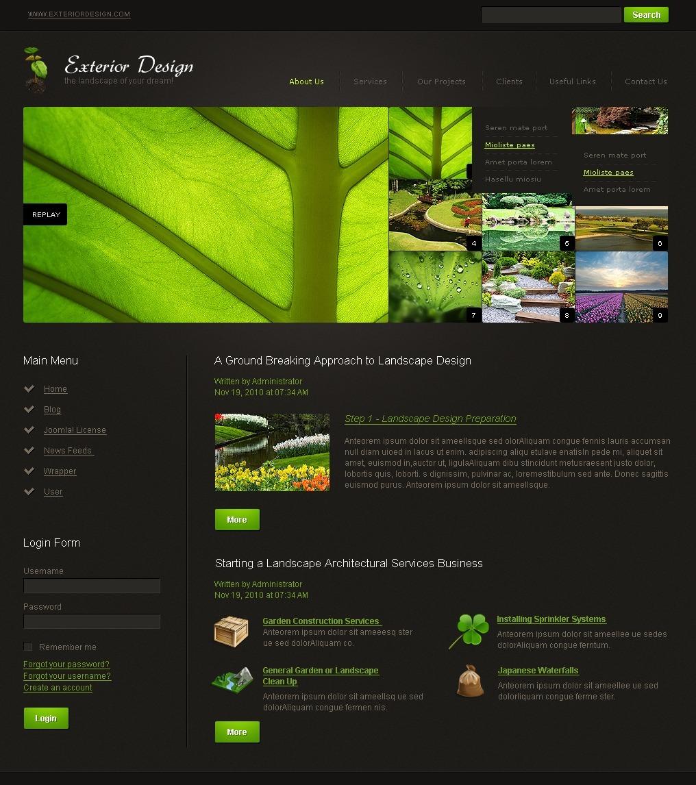 Tema joomla 28818 per un sito di design esteriore for Sito di design