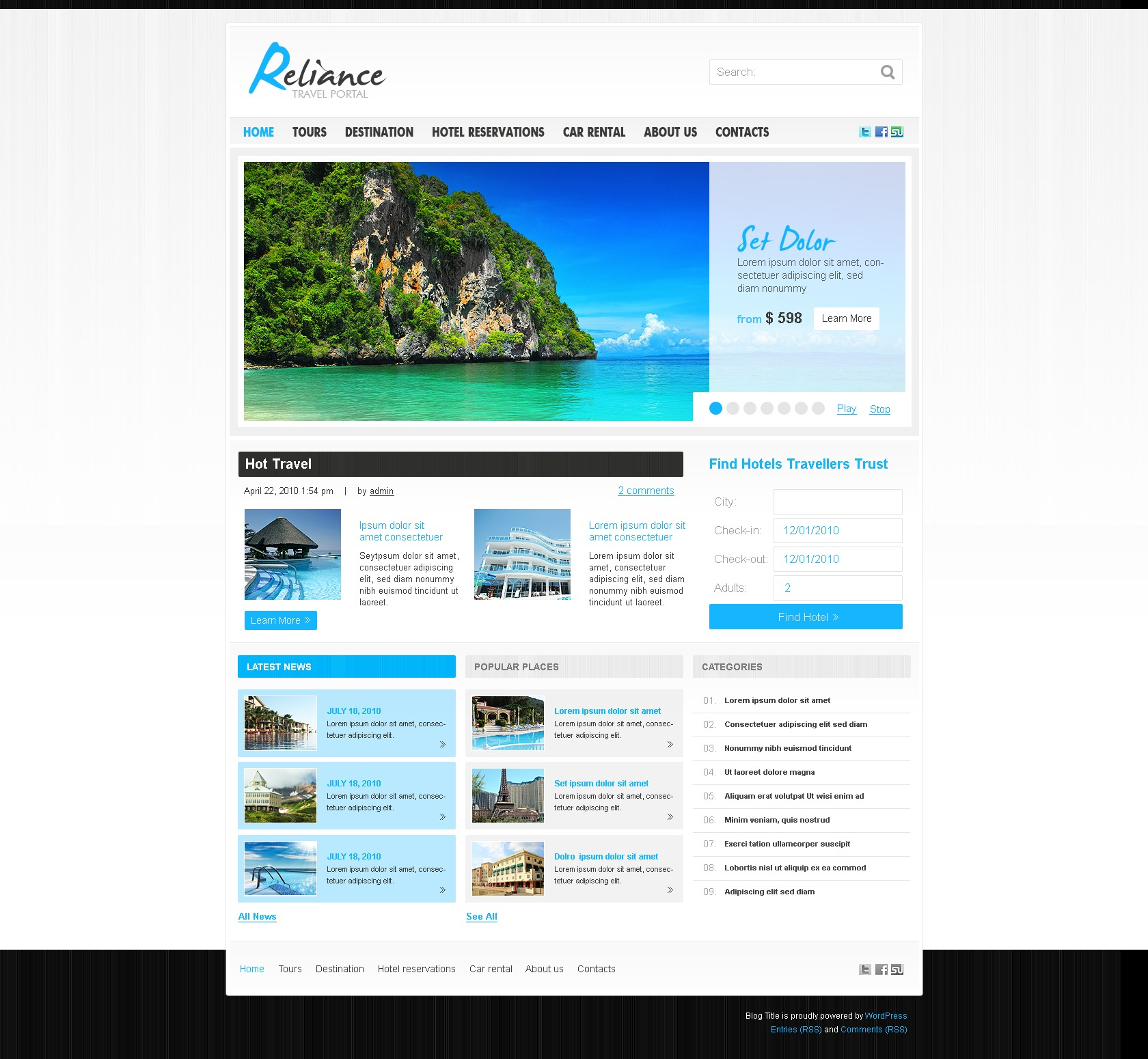 Template WordPress #28831 per Un Sito di Guida Turistica - screenshot