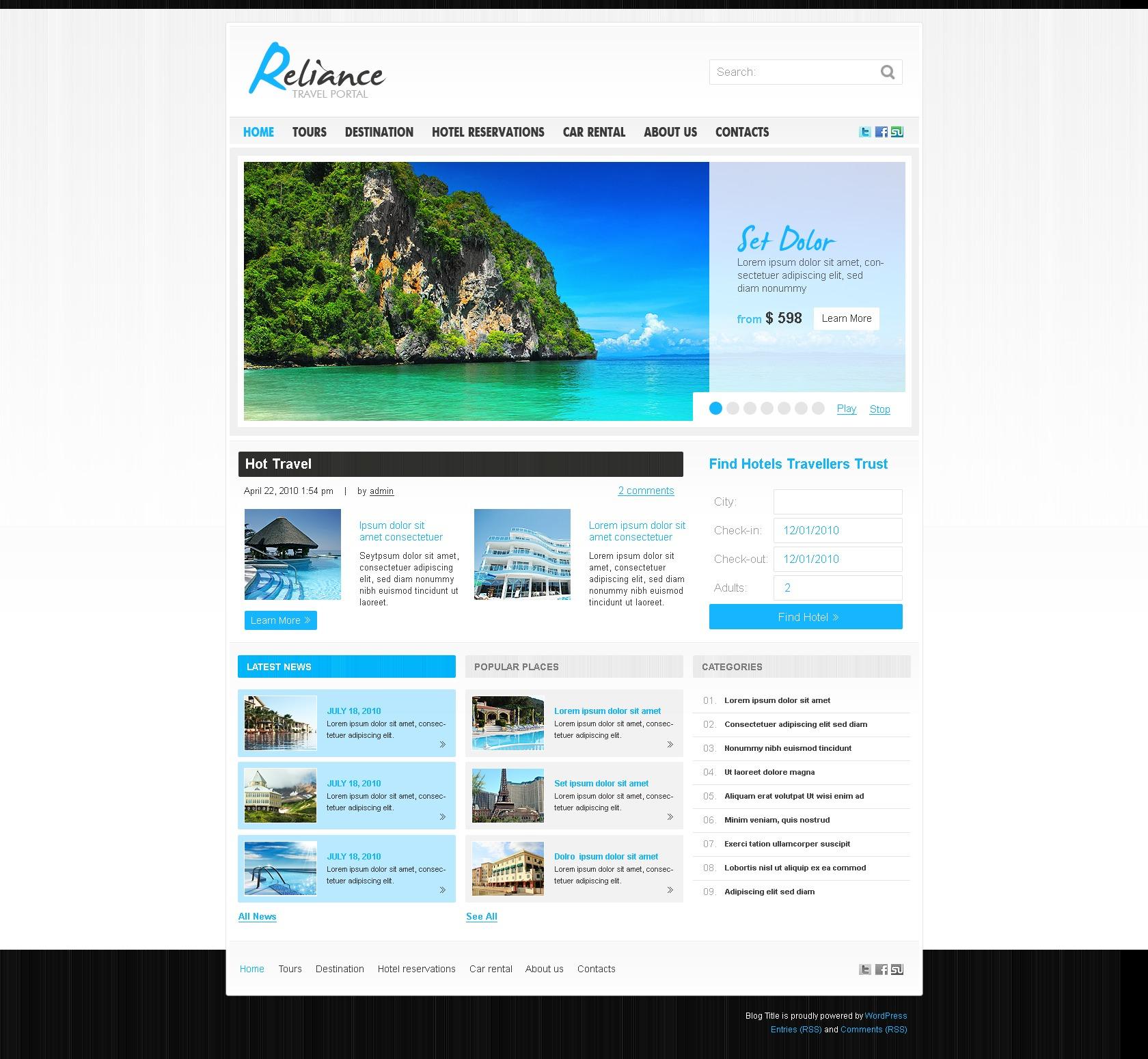 WordPress thema over Reisgids №28831 - screenshot