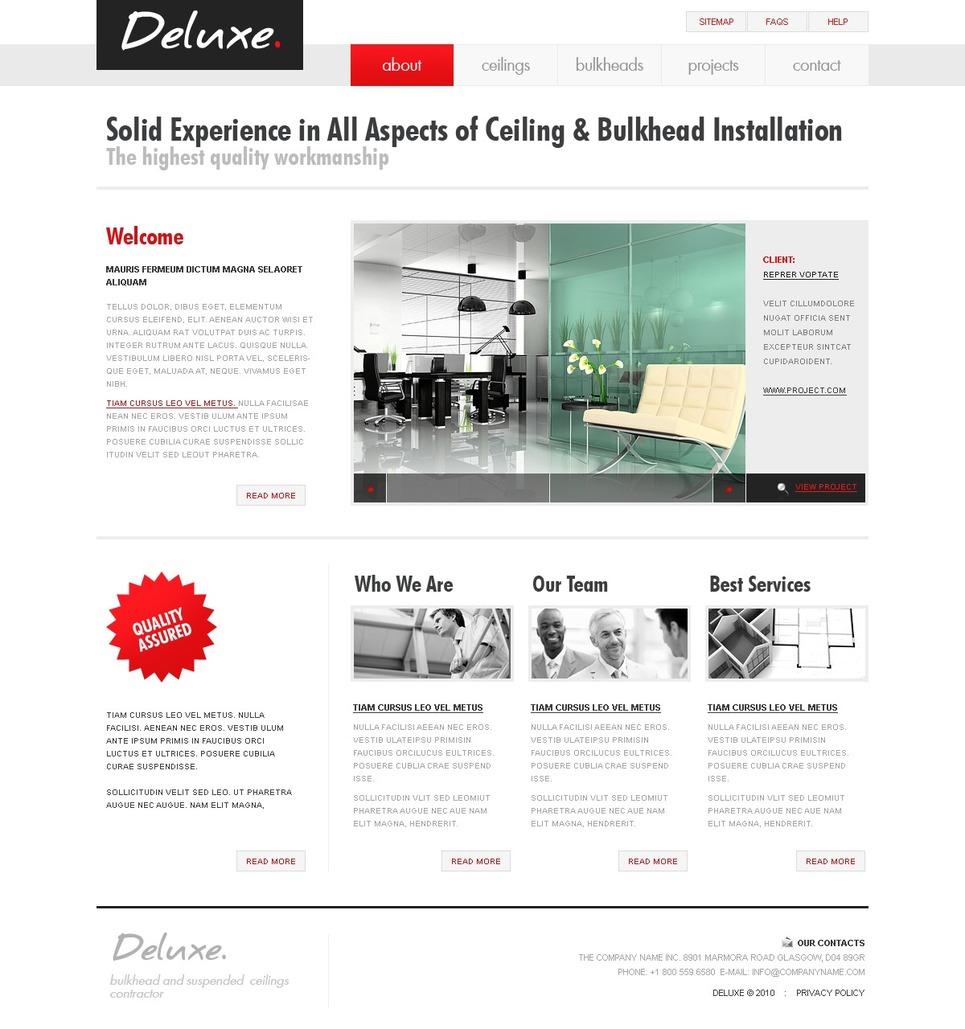 Template siti web per un sito di design di interni for Sito web di design di mobili