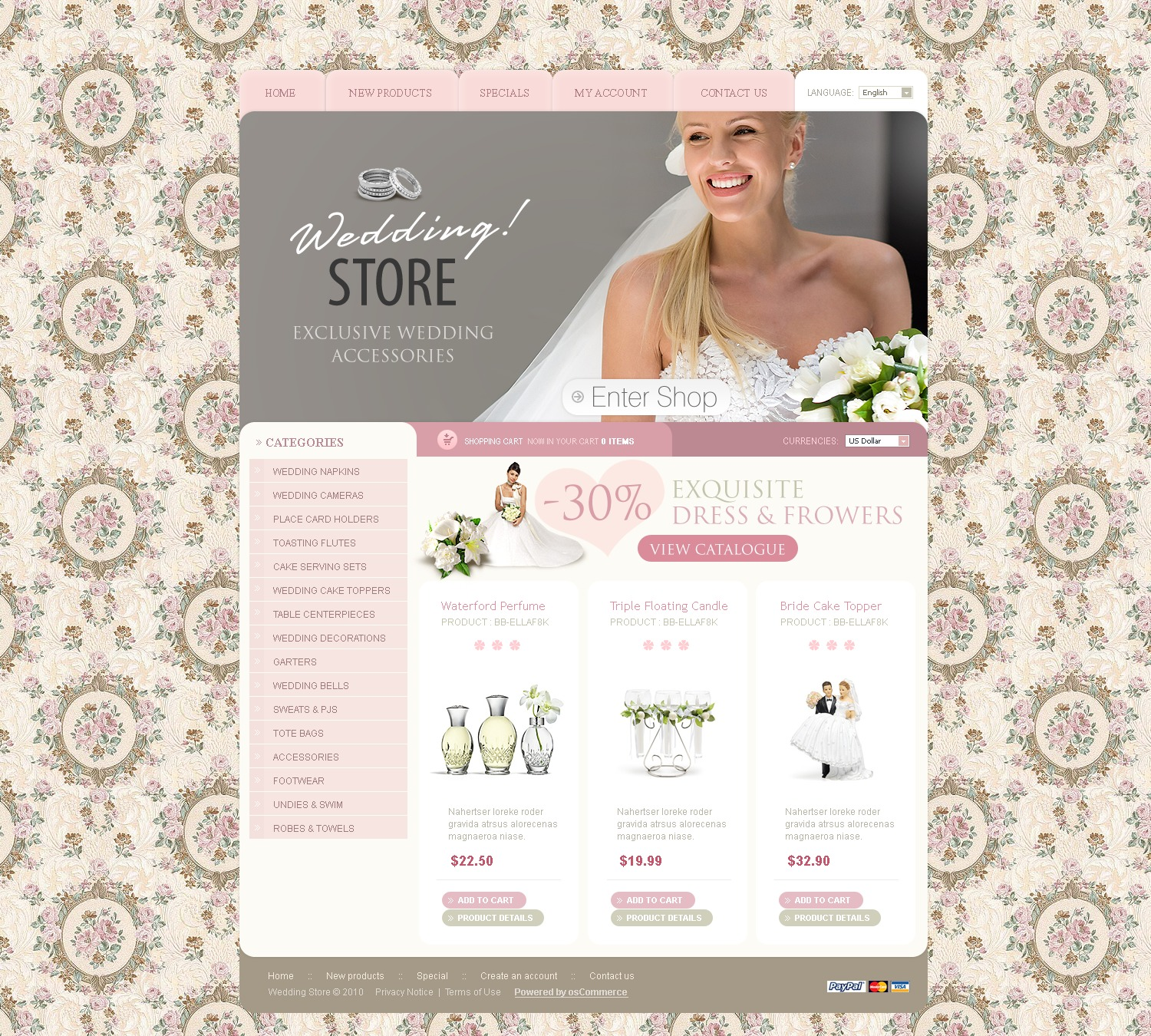 Wedding Shop OsCommerce Template #28966