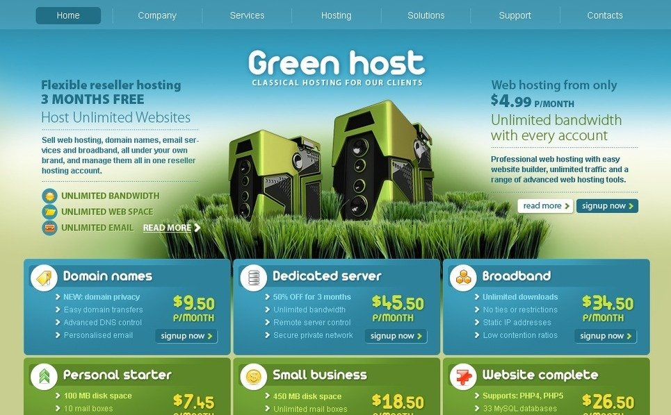 Plantilla PSD #29047 para Sitio de Hosting New Screenshots BIG