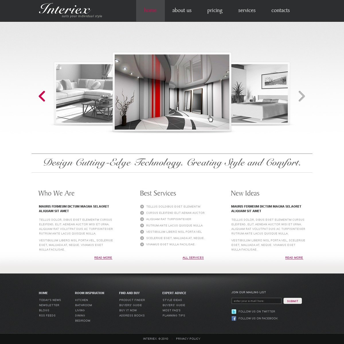 Interior design website template 29072 for Interior design sites