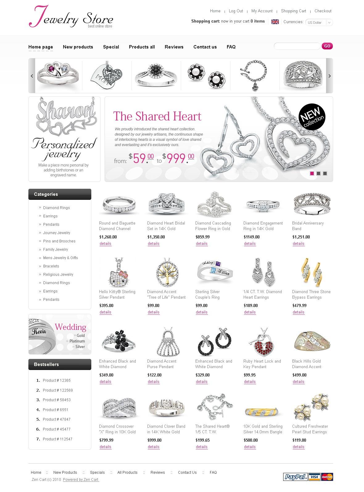 Szablon ZenCart #29011 na temat: biżuteria - zrzut ekranu