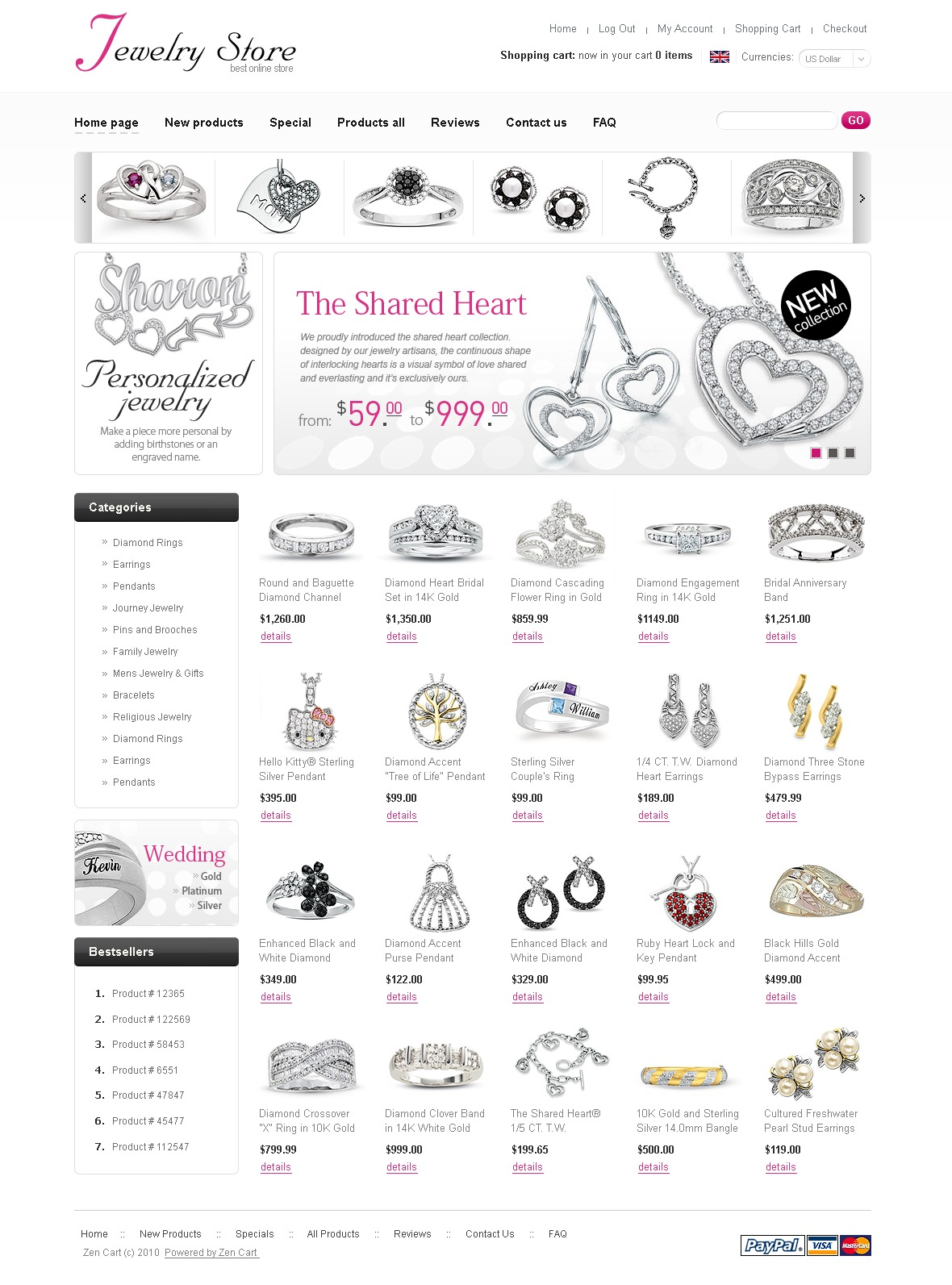 珠宝ZenCart模板 #29011 - 截图